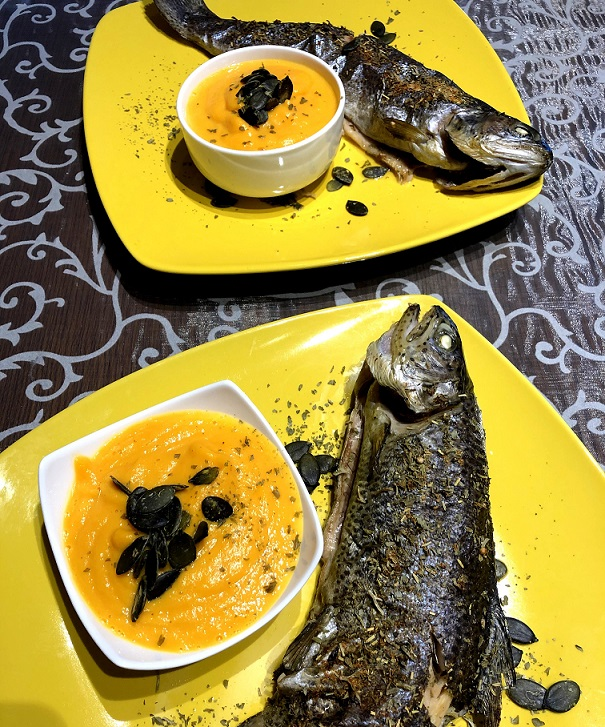 Baked rainbow trout with pumpkin puree
