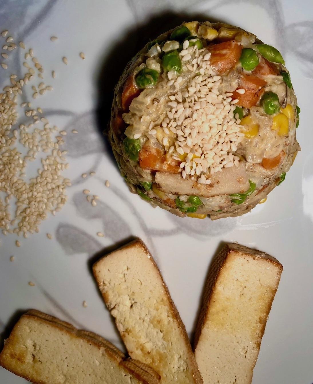 Zelenjavna rižota v sojini kremi